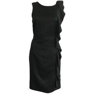 Banana Republic Black Satin Ruffle Dress 6 NWOT
